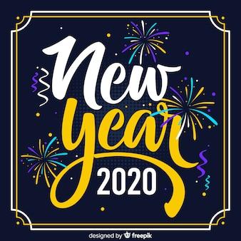 Nieuw jaar 2020 in plat ontwerp