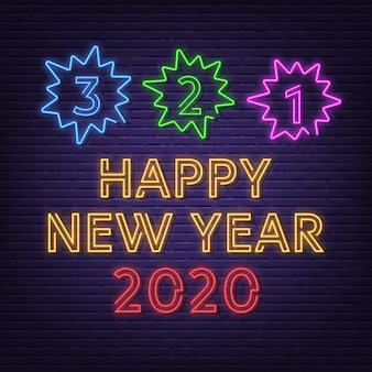 Nieuw jaar aftellen neon uithangbord