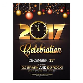 Nieuw jaar brochure met ballen opknoping en gouden klok