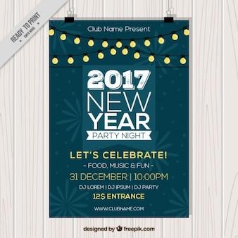 Nieuw jaar flyer met verlichte slingers