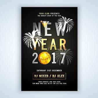 Nieuw jaar flyer met vuurwerk en gouden details