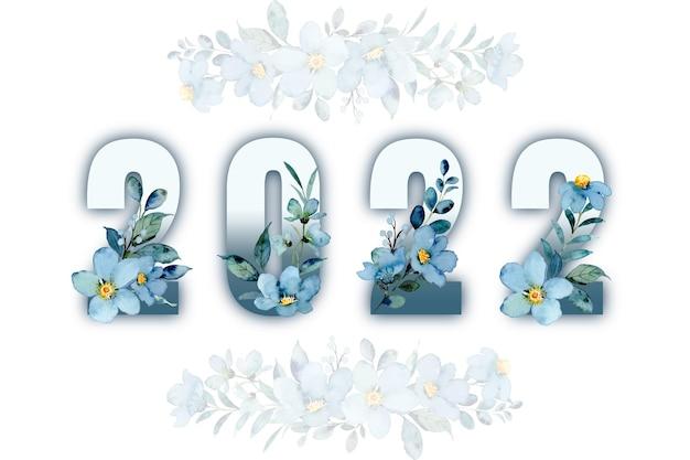 Nieuw jaar met blauwgroene bloemenwaterverf