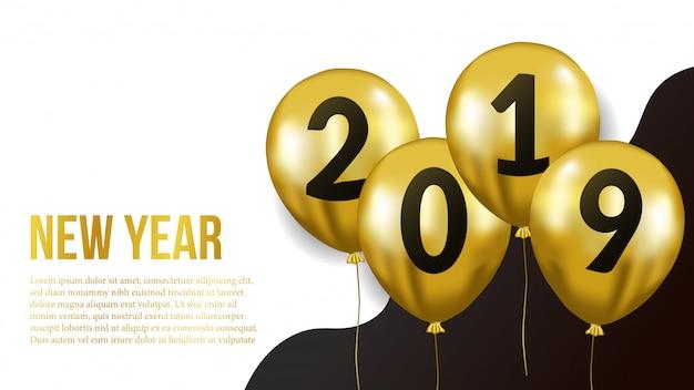 Nieuw jaar met gouden ballon