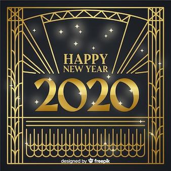 Nieuw jaarconcept met gouden ontwerp