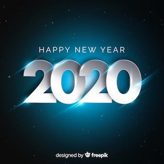 Nieuw jaarconcept met zilveren ontwerp