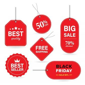 Nieuw label rood label en verkoop banner vector met speciale prijs en zwarte vrijdag en bevrijdt verzendmethode.
