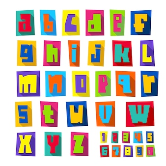 Nieuw lettertype, snij kleurrijke letters op gekleurd papier met schaduw, kleine letters