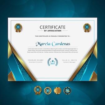 Nieuw luxe professioneel certificaatsjabloonontwerp