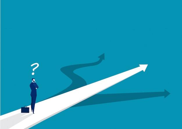 Nieuw manierconcept. begin reisavonturen en kansen. zakenman op weg buiten. illustratie