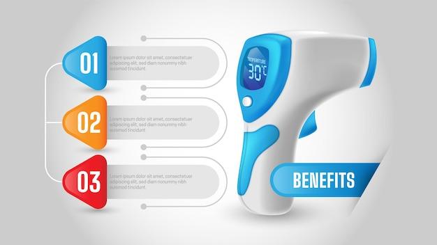 Nieuw normaal advies op openbare plaatsen om de infographic over de lichaamstemperatuur te controleren