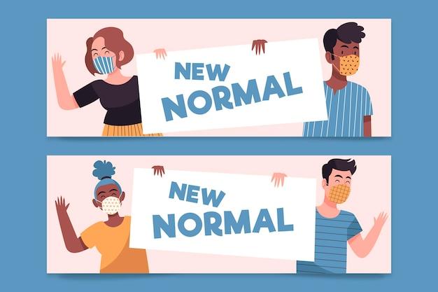 Nieuw normaal bannersjabloon geïllustreerd