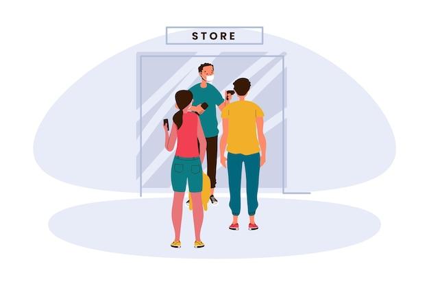 Nieuw normaal bij de ingang van winkels illustratie