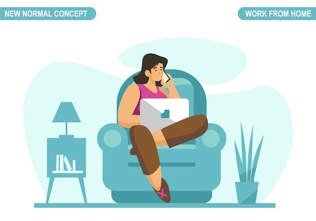 Nieuw normaal concept. jonge vrouw thuis werken of studeren. zelfquarantaine om coronavirus covid -19 te voorkomen. freelancer levensstijl. thuisonderwijs. schaalbare en bewerkbare illustratie.