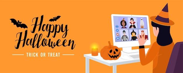 Nieuw normaal concept, kinderen in halloween-jurk videovergaderingen thuis. vector