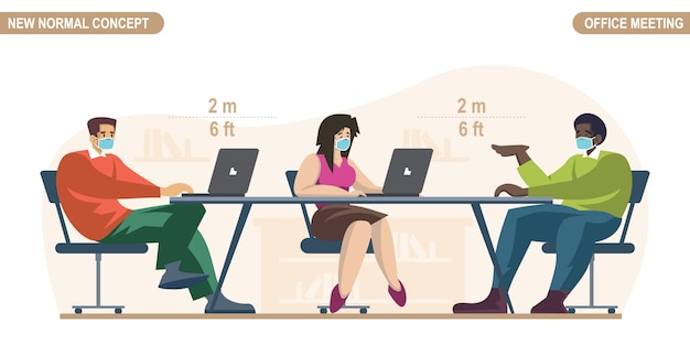 Nieuw normaal concept. sociale afstand in de kantoorruimte. mensen beambteman en vrouwen die medisch gezichtsmasker dragen. blijf op afstand om pandemie van het coronavirus of covid-19 te voorkomen.