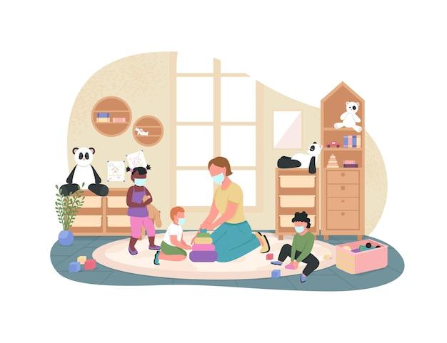 Nieuw normaal in de illustratie van de kleuterschool