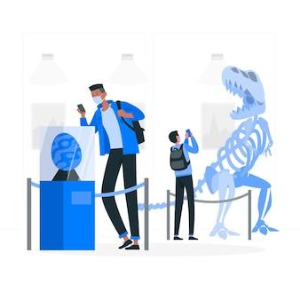 Nieuw normaal in musea (covid) concept illustratie