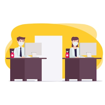 Nieuw normaal kantoorconcept voor landingspagina, website en nog veel meer. een nieuwe gewoonte tijdens de pandemie waarbij werknemers gezondheidsprotocollen handhaven