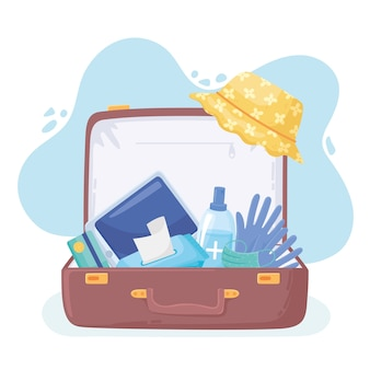 Nieuw normaal, koffer voor reizen met medische producten, naar covid 19 illustratie