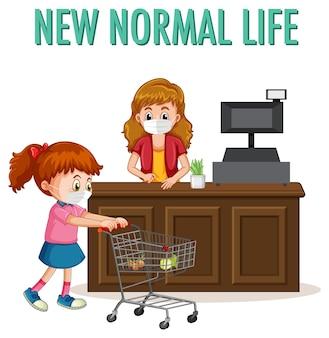 Nieuw normaal leven met een meisje duwt winkelwagentje