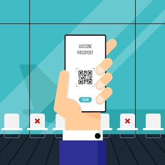 Nieuw normaal levensstijl en veilig reisconcept onder covid19-uitbraak met vaccinpaspoortconcept zakenman scan qr-code van vaccinpaspoort op de luchthaven vectorillustratie