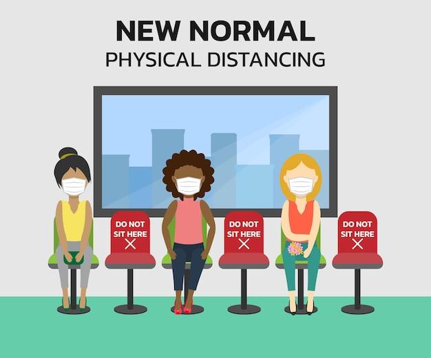 Nieuw normaal levensstijlconcept en mensen die fysieke afstand houden houd afstand