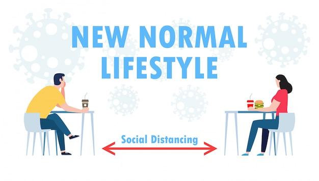 Nieuw normaal levensstijlconcept, fysiek sociaal afstandsconcept in restaurant