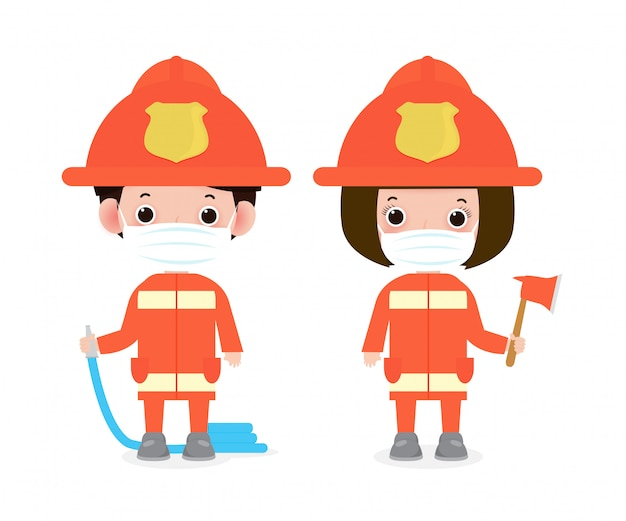Nieuw normaal levensstijlconcept. gelukkig beroep brandweerman dragen gezichtsmasker beschermen coronavirus covid-19, beroep brandweerman met brandbeveiligingsapparatuur geïsoleerd op witte achtergrond vector
