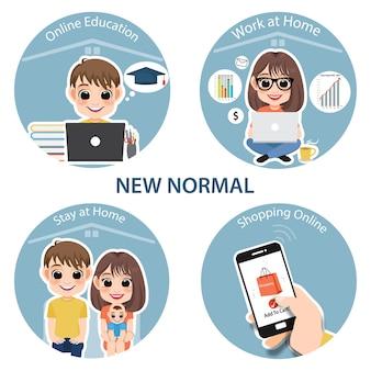 Nieuw normaal levensstijlconcept. na het coronavirus of covid-19 dat de manier van leven veroorzaakt. online onderwijs, thuiswerken, thuis blijven en winkelen online infographic sjabloonvector
