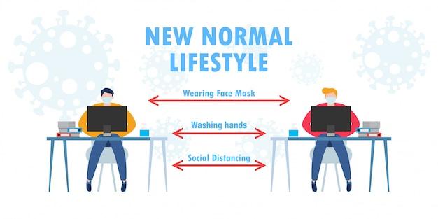 Nieuw normaal levensstijlconcept, sociale afstand, teamwork van bedrijfsbureau