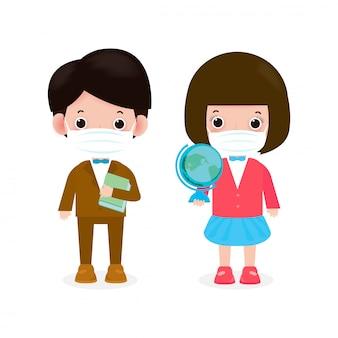 Nieuw normaal levensstijlconcept. terug naar school gelukkige mannelijke en vrouwelijke leraren die gezichtsmasker dragen beschermen coronavirus covid-19, geïsoleerd op witte illustratie als achtergrond