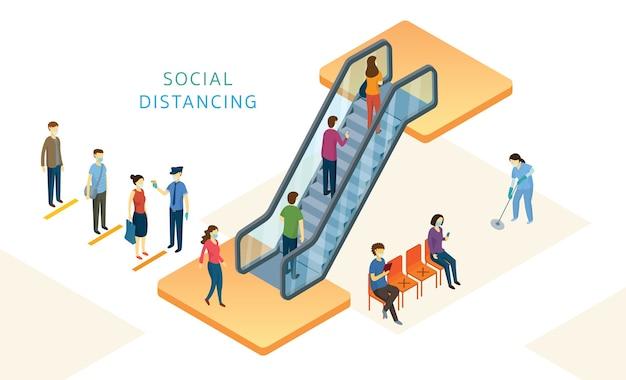 Nieuw normaal, mensen, sociale afstand in mart en store, gebruik roltrap