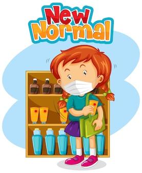 Nieuw normaal met een meisje dat een masker draagt tijdens het winkelen