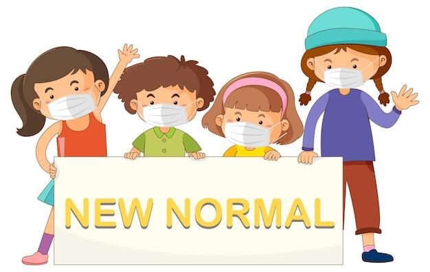 Nieuw normaal met kinderen die maskers dragen