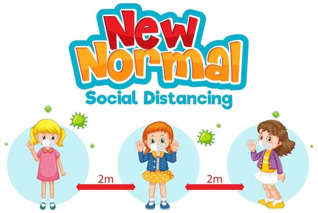 Nieuw normaal met kinderen houd social distancing