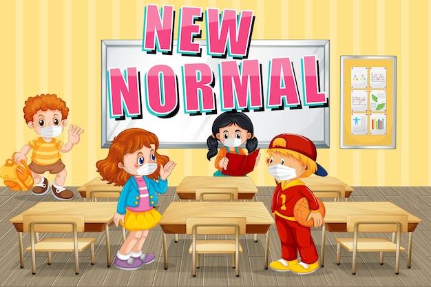 Nieuw normaal met leerlingen houd social distancing in de klas