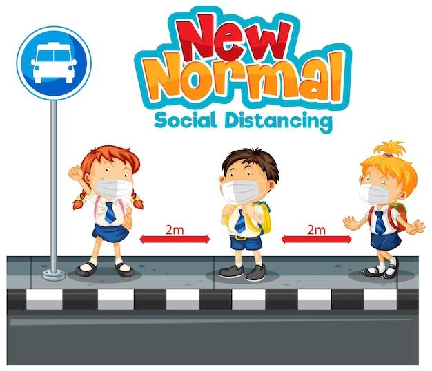 Nieuw normaal met leerlingen houd social distancing