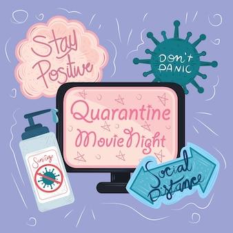 Nieuw normaal, na coronavirus covid 19, handgetekende teksten positief en preventie
