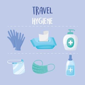Nieuw normaal na covid 19 reizen hygiëne pictogrammen handschoenen masker gel papier illustratie