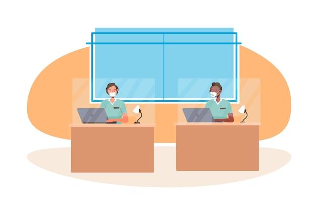 Nieuw normaal op kantoor illustratie