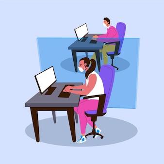 Nieuw normaal op kantoorconcept