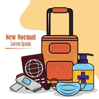 Nieuw normaal, reizen, masker dragen, handen desinfecteren, naar illustratie van coronavirus covid 19