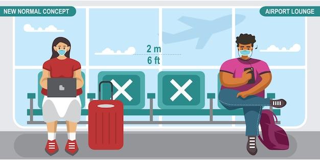 Nieuw normaal sociaal afstandsconcept. mensen die een medisch masker dragen, op de luchthavenlounge zitten en afstand houden om te beschermen tegen covid-19 coronavirus.