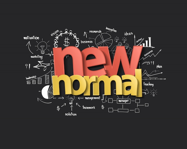 Nieuw normaal typografieontwerp met creatief denken, het tekenen van grafieken en diagrammen