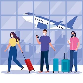 Nieuw normaal van vrouwenman met masker en tassen op luchthavenontwerp van covid 19-virus en reisthema