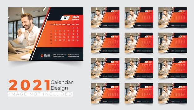 Nieuw ontwerpsjabloon voor bureaukalender 2021
