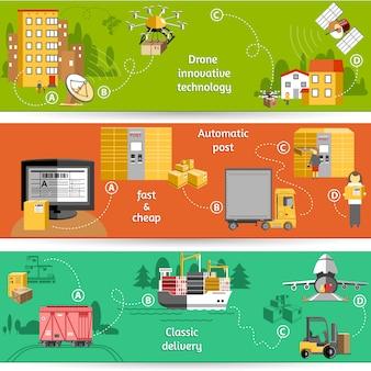Nieuw pakket levering met drone innovatieve technologie logistieke service oplossingen banner