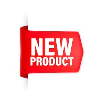 Nieuw product rood lint Premium Vector
