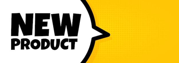 Nieuw product. spraakballonbanner met nieuwe producttekst. luidspreker. voor zaken, marketing en reclame. vector op geïsoleerde achtergrond. eps-10.