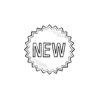 Nieuw product ster sticker hand getrokken schets doodle pictogram. promotie, detailhandel, nieuwste, advertentieconcept